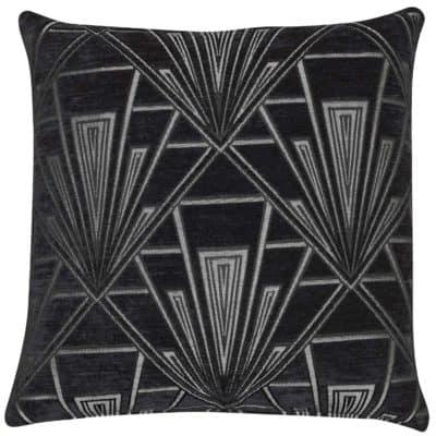 Art Deco Geometric Velvet Chenille Cushion in Black and Silver