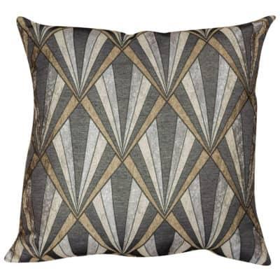 XL Art Deco Geometric Cushion in Grey and Copper