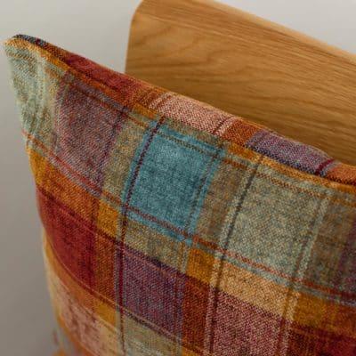 Highland Chenille Check Cushion in Burnt Orange