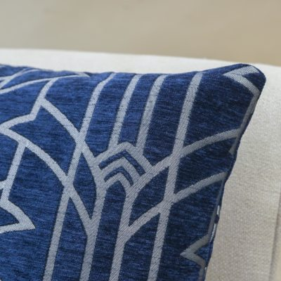 Art Deco Chrysler Cushion in Navy Blue and Silver