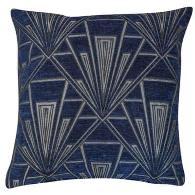 Art Deco Geometric Velvet Chenille Cushion in Navy Blue