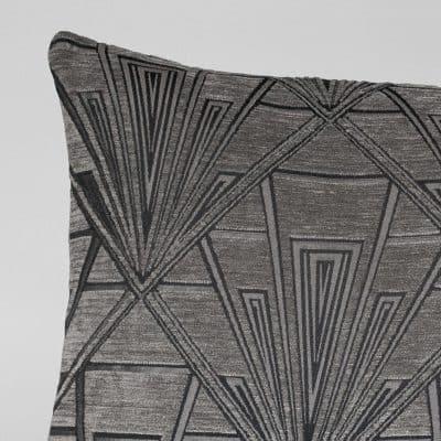Art Deco Geometric XL Rectangular Cushion in Grey and Silver