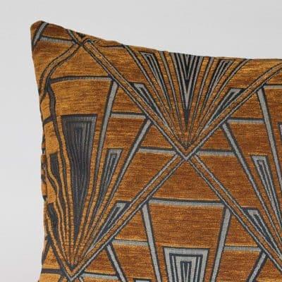 Art Deco Geometric XL Rectangular Cushion in Gold and Silver