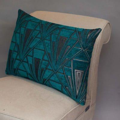 Art Deco Geometric Velvet Chenille XL Rectangular Cushion in Teal and Silver