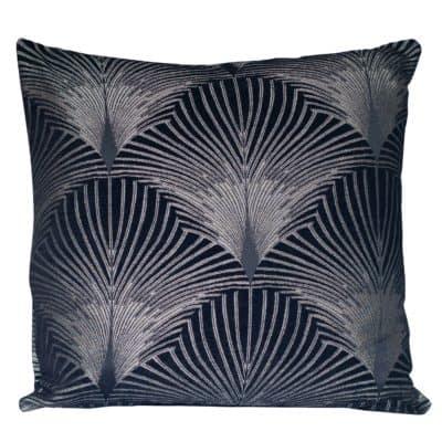 Art Deco Fan XL Cushion in Black and Silver