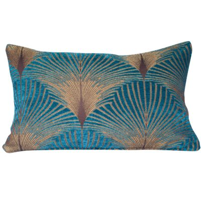 Art Deco Fan XL Rectangular Cushion in Teal and Gold
