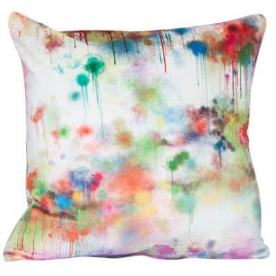 Spray Paint Velvet Cushion in White