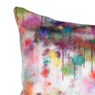 Spray Paint Velvet XL Rectangular Cushion in White