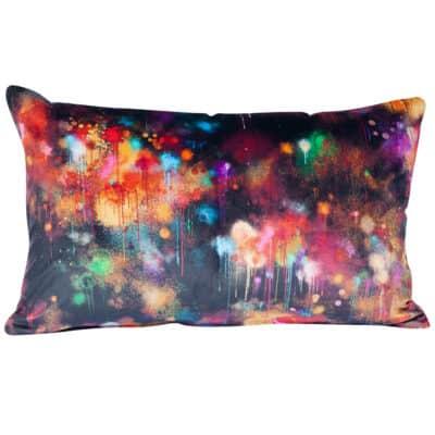 Spray Paint Velvet XL Rectangular Cushion in Black
