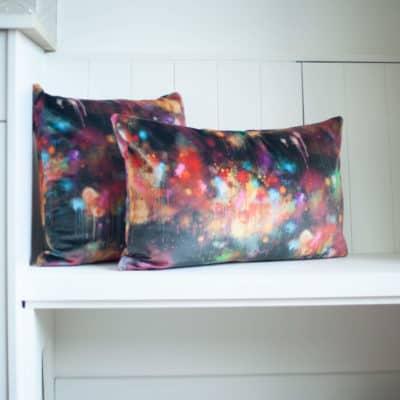 Spray Paint Velvet Cushion in Black