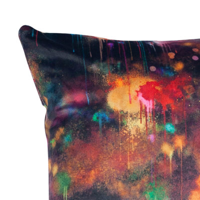 Spray Paint Velvet Extra-Large Cushion in Black