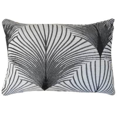 Art Deco Fan Boudoir Cushion in Pearl White