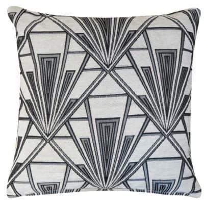Art Deco Geometric Velvet Chenille Cushion in Pearl White