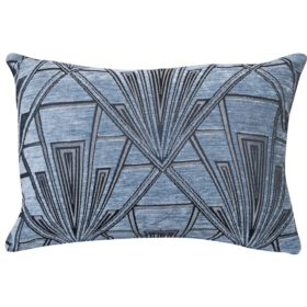 Art Deco Geometric Velvet Chenille Boudoir Cushion in Steel Blue