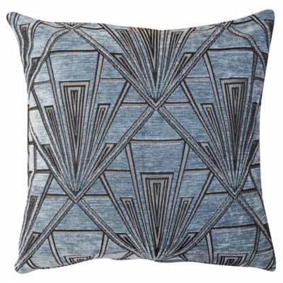 Art Deco Geometric Velvet Chenille Cushion in Steel Blue