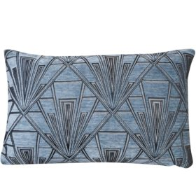 Art Deco Geometric Velvet Chenille XL Rectangular Cushion in Steel Blue