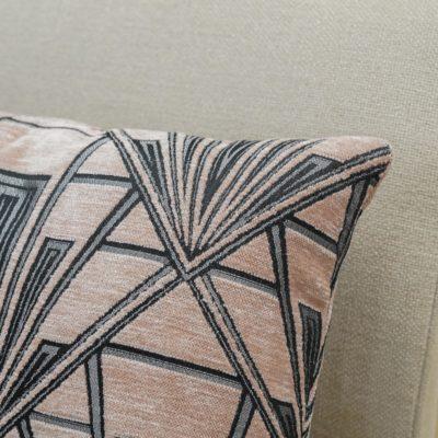 Art Deco Geometric Velvet Chenille Boudoir Cushion in Blush Pink
