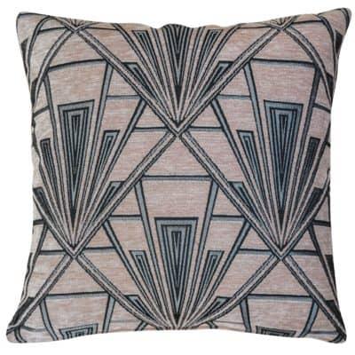 Art Deco Geometric Velvet Chenille Cushion in Blush Pink