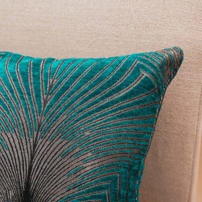 Art Deco Fan Boudoir Cushion in Teal and Silver