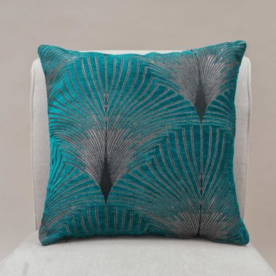 Art Deco Fan Cushion in Teal and Silver