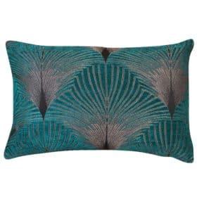 Art Deco Fan XL Rectangular Cushion in Teal and Silver