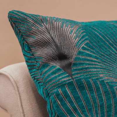 Art Deco Fan Extra-Large Cushion in Teal and Silver