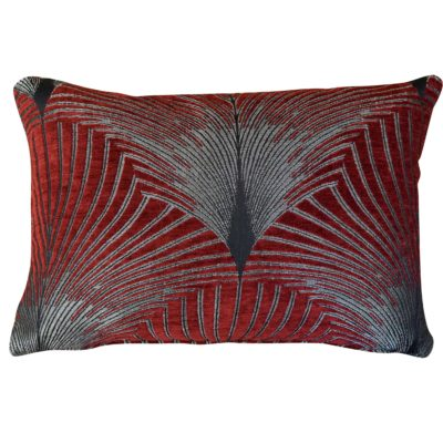 Art Deco Fan Boudoir Cushion in Red and Silver