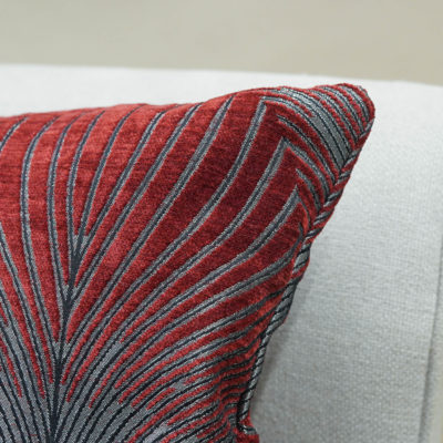 Art Deco Fan Cushion in Red and Silver