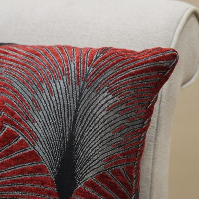 Art Deco Fan XL Rectangular Cushion in Red and Silver