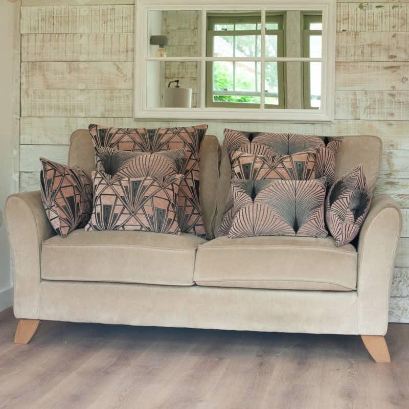 Art Deco Fan Boudoir Cushion in Blush Pink