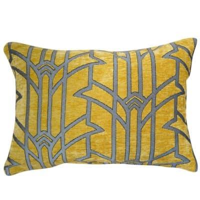Art Deco Chrysler Boudoir Cushion in Ochre and Silver