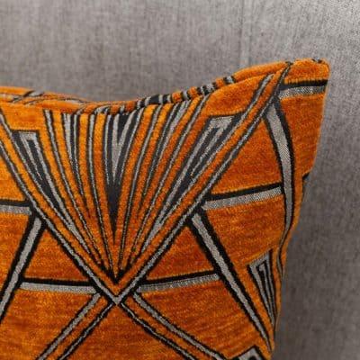Art Deco Geometric Velvet Chenille Boudoir Cushion in Burnt Orange and Silver