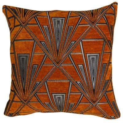 Art Deco Geometric Velvet Chenille Cushion in Burnt Orange and Silver