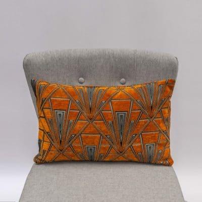 Art Deco Geometric Velvet Chenille XL Rectangular Cushion in Burnt Orange and Silver