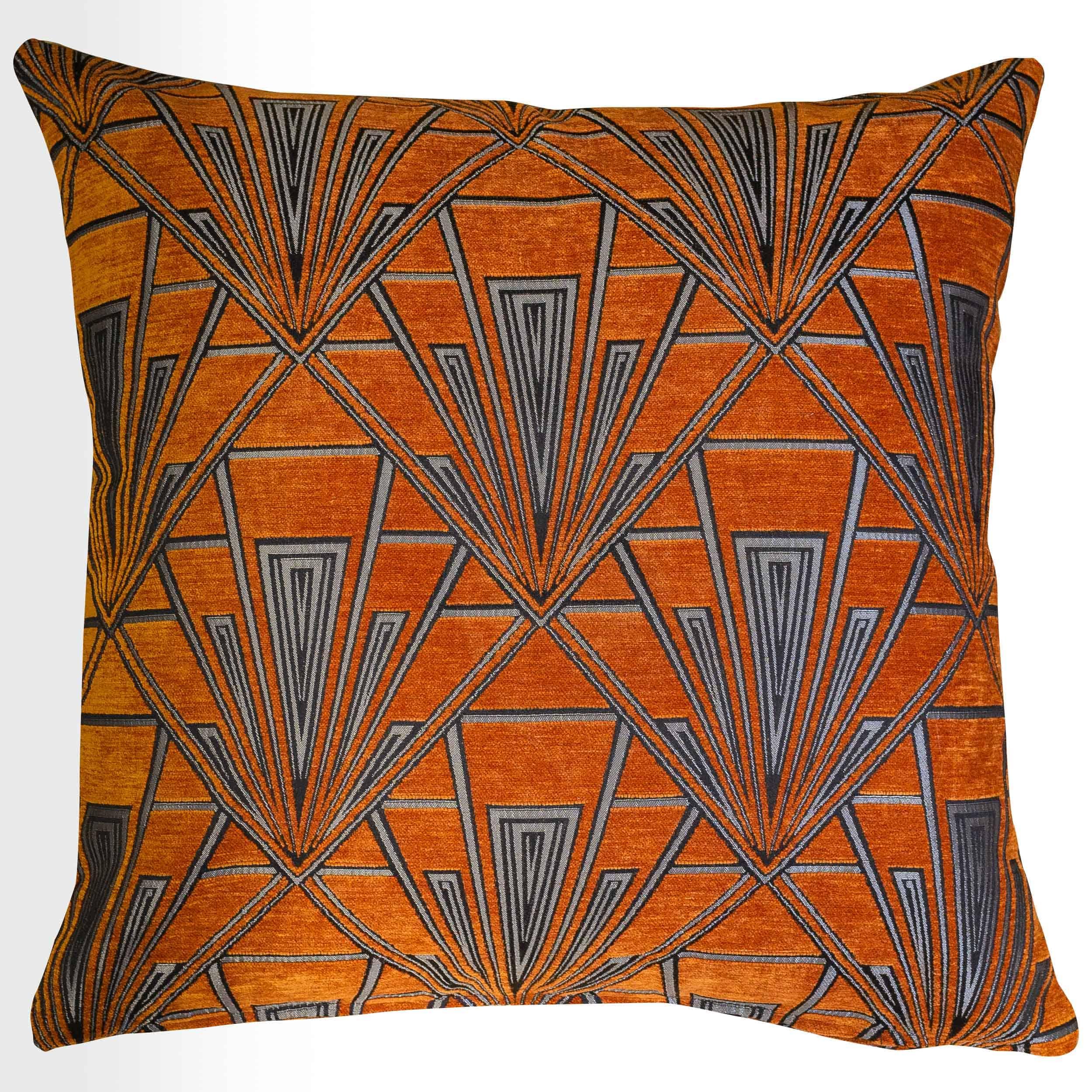 Art Deco Geometric Velvet Chenille Extra-Large Cushion in Burnt Orange and Silver