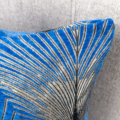 Art Deco Fan Cushion in Royal Blue and Silver