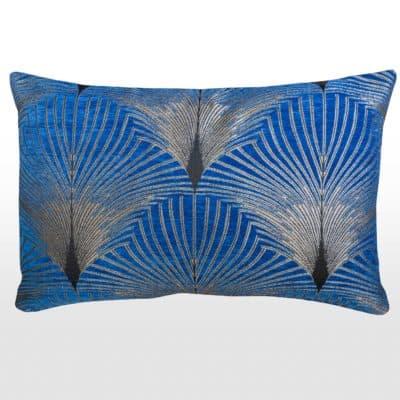 Art Deco Fan XL Rectangular Cushion in Royal Blue and Silver