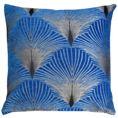 Art Deco Fan Extra-Large Cushion in Royal Blue and Silver