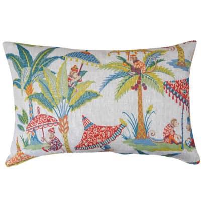 Tropical Monkey Procession Linen XL Rectangular Cushion