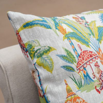 Tropical Monkey Procession Linen Extra-Large Cushion