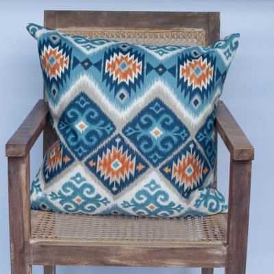 Extra Large Navajo Kilim Cushion in Teal and Orange