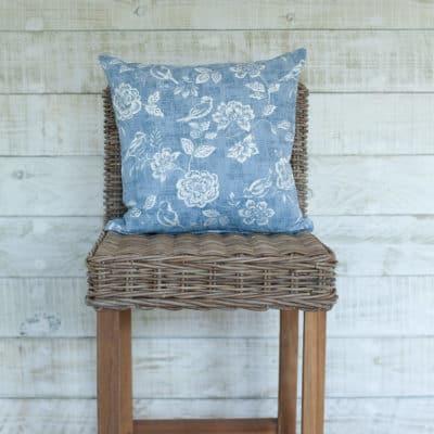 Denim Blue Country Birds Cushion