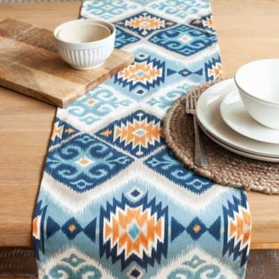 Navajo Kilim Table Runner in Teal Blue and Orange