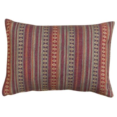 Navajo Blanket Weave Boudoir Cushion in Burgundy