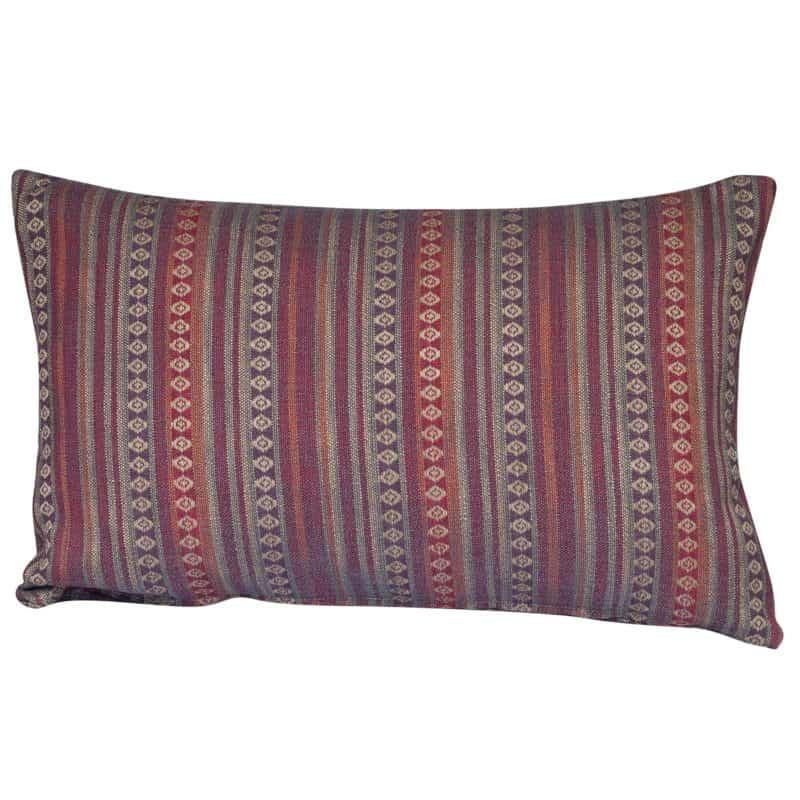 Navajo Blanket Weave XL Rectangular Cushion in Burgundy
