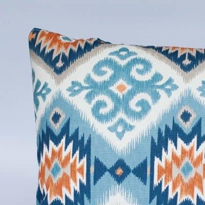 Navajo Kilim XL Rectangular Cushion in Teal and Orange