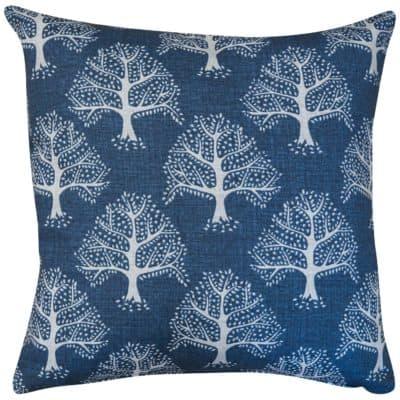 Oak Tree Cushion in Indigo