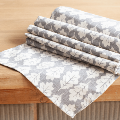 Autumn Leaf Table Runner in Dove Grey