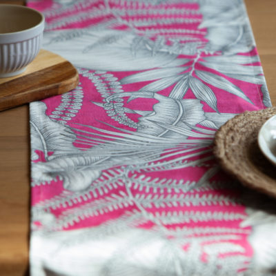 Neon Floral Table Runner in Pink