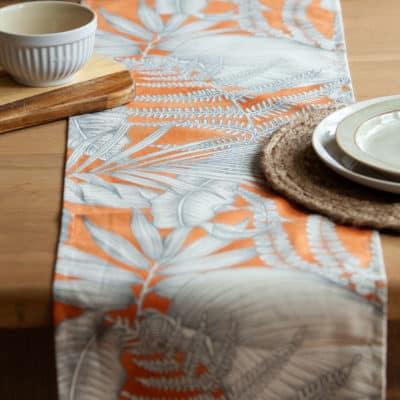 Neon Floral Table Runner in Orange